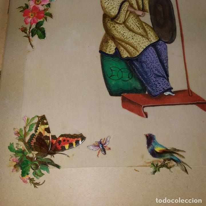 Arte: DAMA IMPERIAL. PINTURA CHINA SOBRE PAPEL ARROZ. APLICACIÓN DE TROQUELADOS. CHINA.XIX - Foto 9 - 244485025