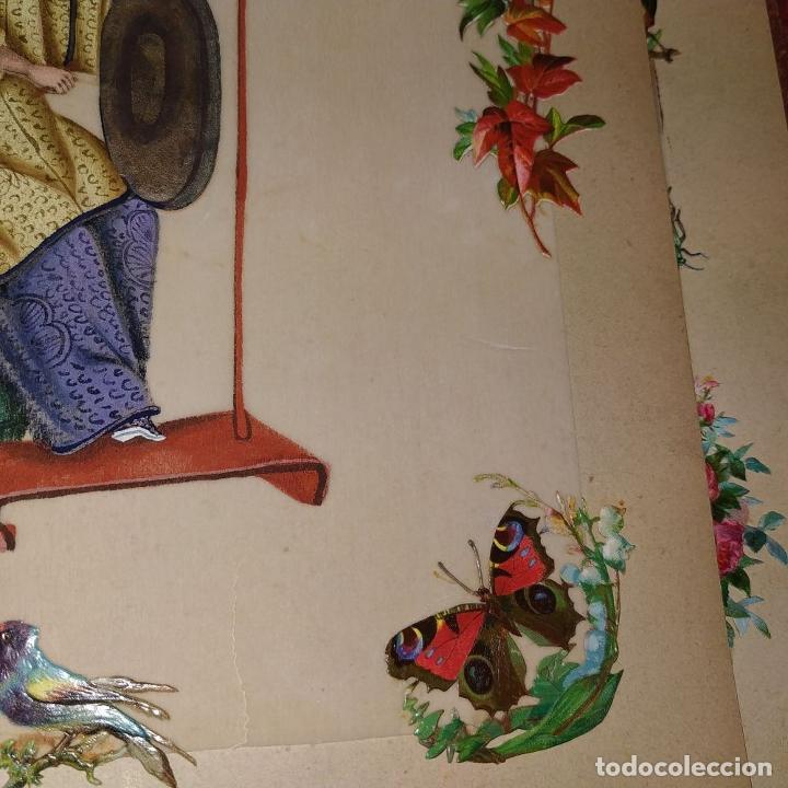 Arte: DAMA IMPERIAL. PINTURA CHINA SOBRE PAPEL ARROZ. APLICACIÓN DE TROQUELADOS. CHINA.XIX - Foto 10 - 244485025