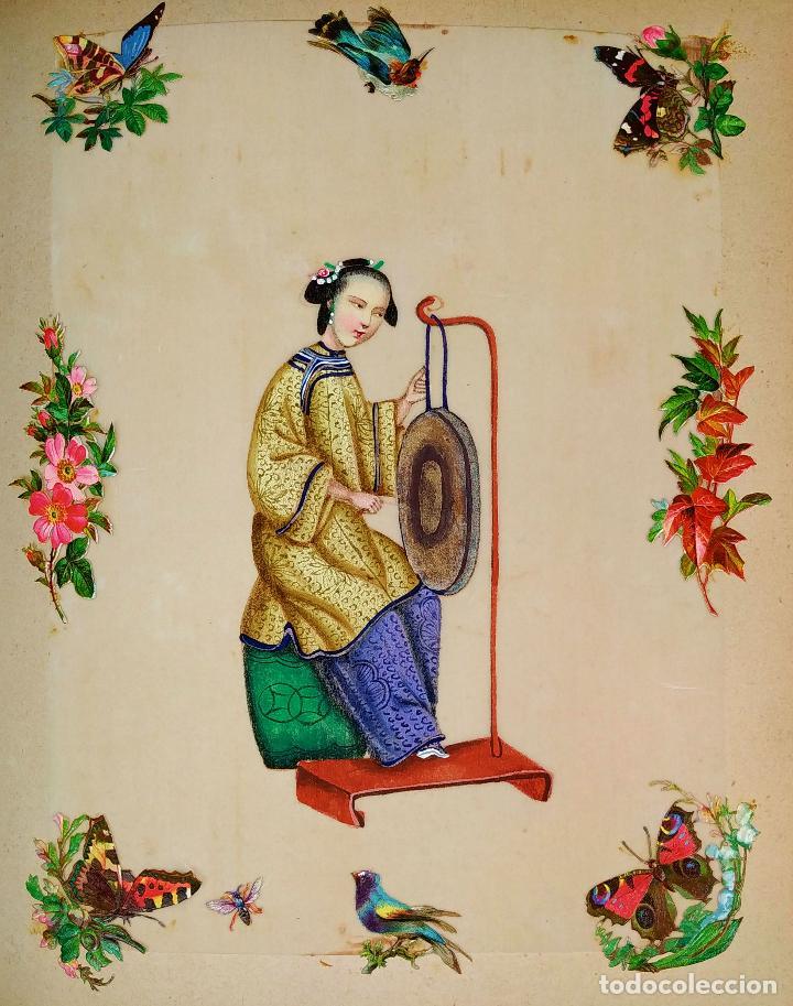 DAMA IMPERIAL. PINTURA CHINA SOBRE PAPEL ARROZ. APLICACIÓN DE TROQUELADOS. CHINA.XIX (Arte - Étnico - Asia)