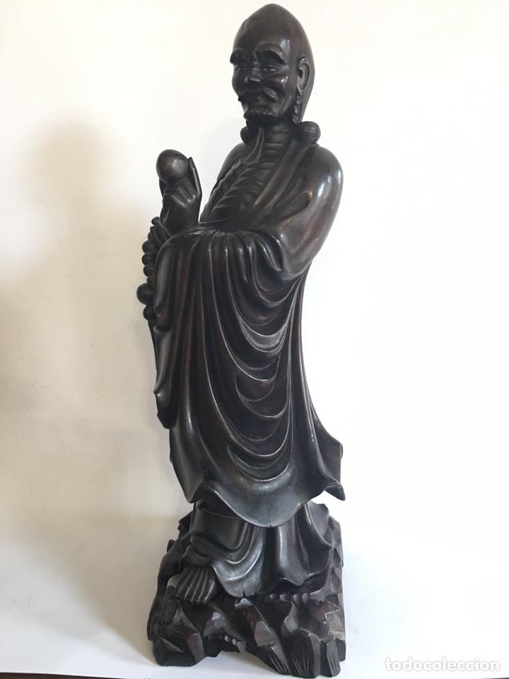 ANTIGUA FIGURA CHINA - DIOS CHINO EN TALLA DE MADERA (Arte - Étnico - Asia)