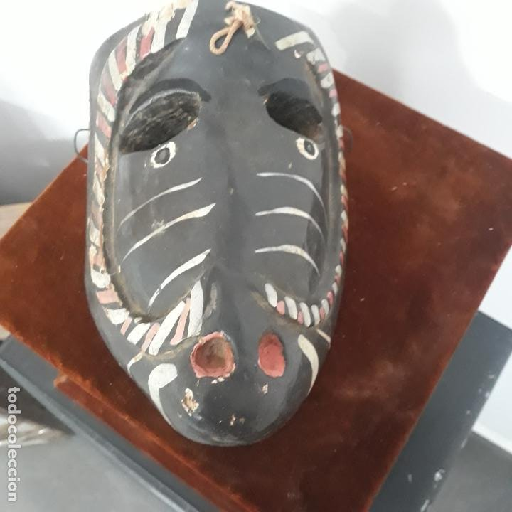 Arte: muy antigua mascara mexicana ,mejicana ,en madera policromada - Foto 3 - 200029077