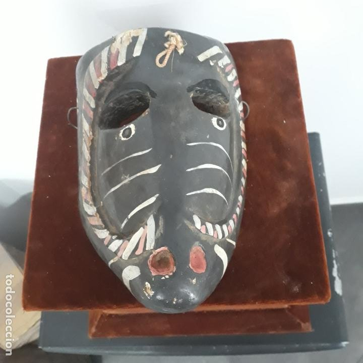 MUY ANTIGUA MASCARA MEXICANA ,MEJICANA ,EN MADERA POLICROMADA (Arte - Étnico - América)