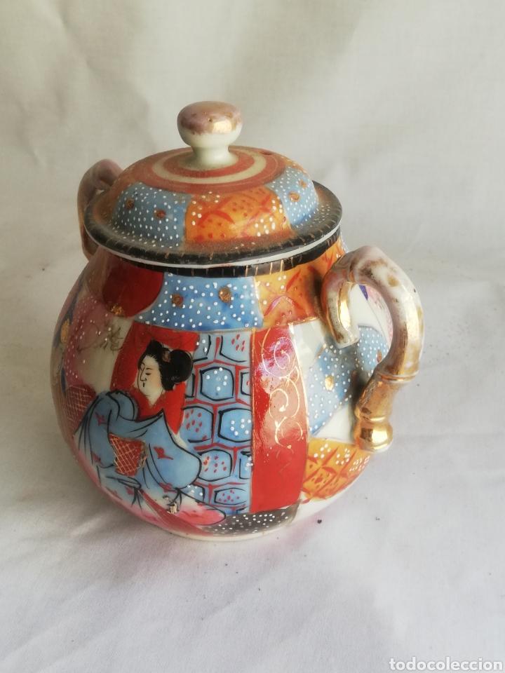 Arte: Caja azucarera antigua en porcelana oriental China o Japones con sello - Foto 2 - 200172707