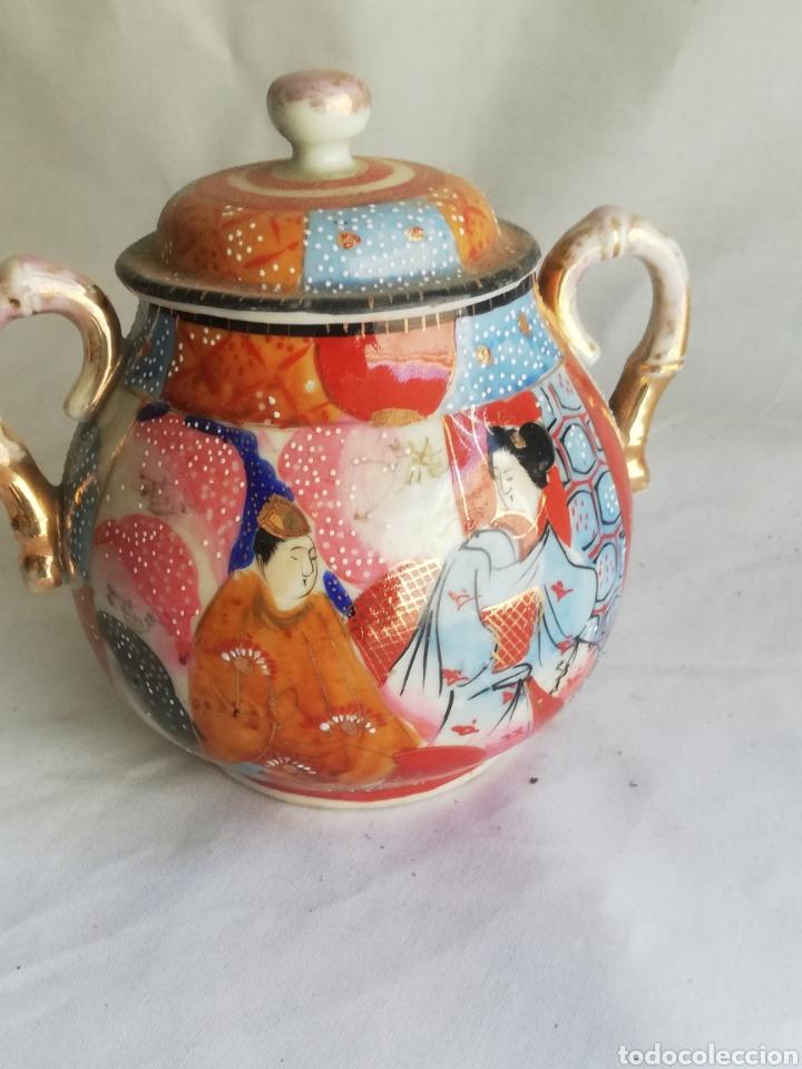 Arte: Caja azucarera antigua en porcelana oriental China o Japones con sello - Foto 4 - 200172707