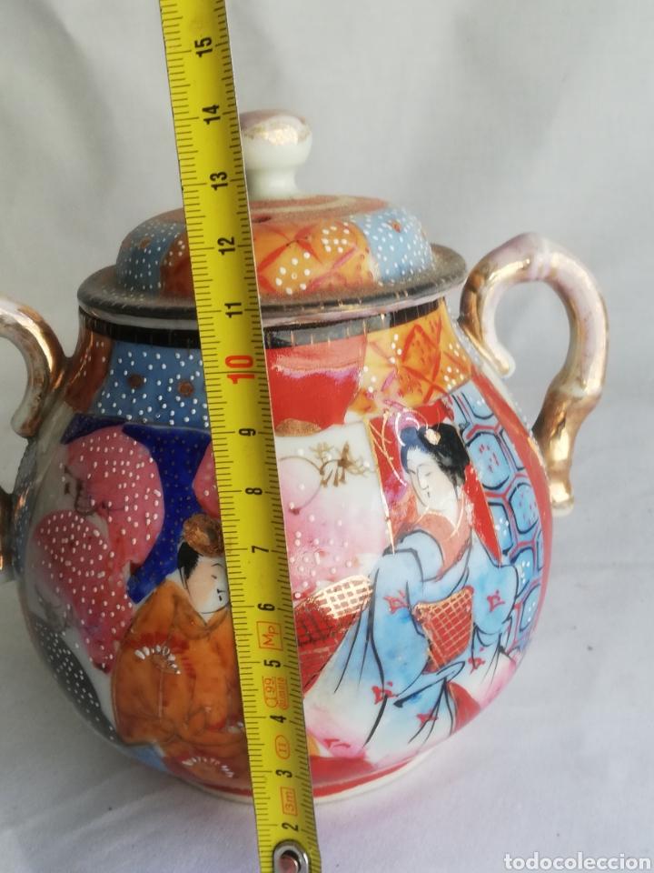Arte: Caja azucarera antigua en porcelana oriental China o Japones con sello - Foto 5 - 200172707