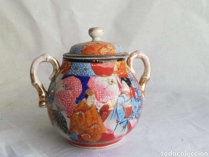 CAJA AZUCARERA ANTIGUA EN PORCELANA ORIENTAL CHINA O JAPONES CON SELLO (Arte - Étnico - Asia)