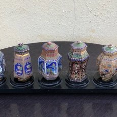 Arte: LOTE DE 8 TIBORES EN MINIATURA, ESMALTE CLOISSONE. Lote 200394153