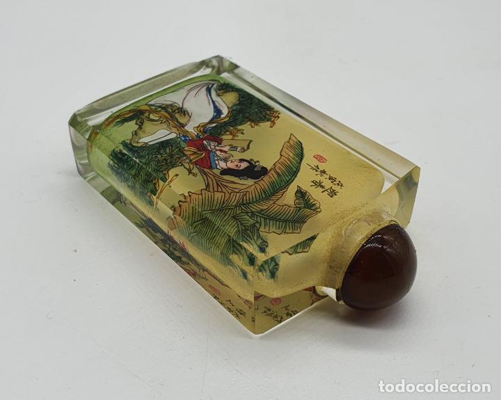 Arte: Preciosa botella antigua para rape en cristal biselado con bellos motivos pintados a mano . - Foto 6 - 200801207