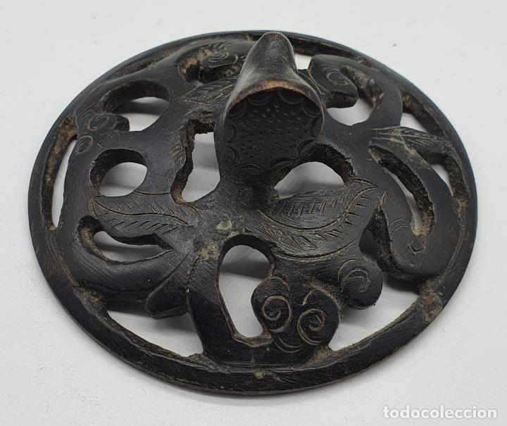 Arte: Incensario antiguo Japones en bronce macizo, hecho en Japón, periodo Meiji (1868 -1912), sellado . - Foto 6 - 200822248
