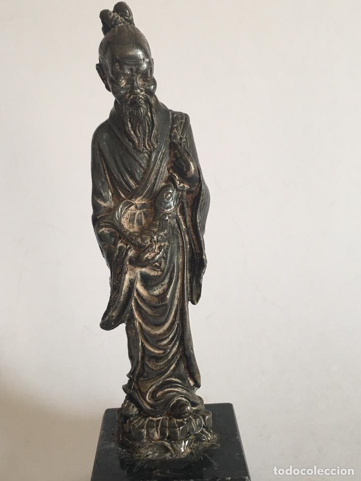 Arte: ANTIGUA FIGURA DE DIOS CHINO EN METAL PLATEADO - Foto 2 - 201200271