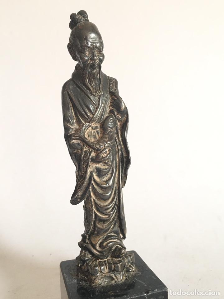 Arte: ANTIGUA FIGURA DE DIOS CHINO EN METAL PLATEADO - Foto 6 - 201200271
