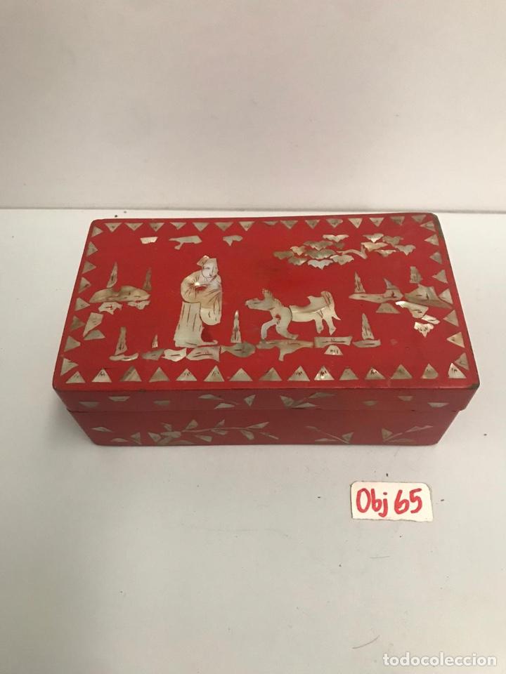 CAJA JOYERO ASIÁTICA MADERA Y NÁCAR (Arte - Étnico - Asia)