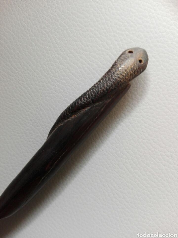 Arte: Cuchillo daga abrecartas de madera tallada con serpiente o culebra en mango - Foto 2 - 203153645