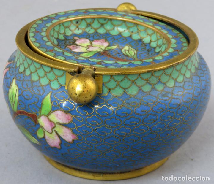 Arte: Cenicero en esmalte cloisonne tonos azules China siglo XX - Foto 2 - 203248741
