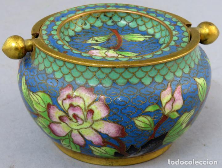 Arte: Cenicero en esmalte cloisonne tonos azules China siglo XX - Foto 3 - 203248741