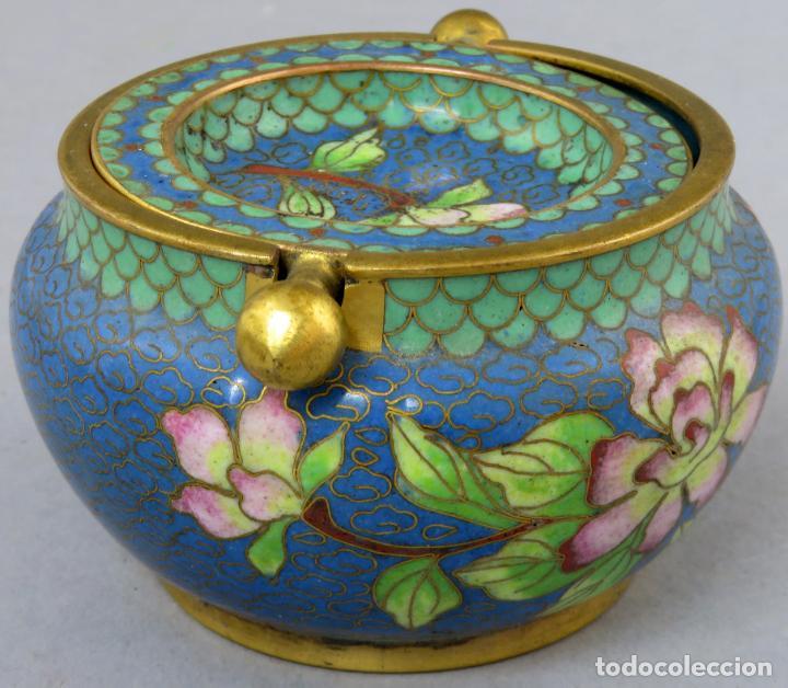 Arte: Cenicero en esmalte cloisonne tonos azules China siglo XX - Foto 4 - 203248741