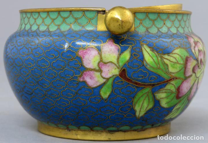 Arte: Cenicero en esmalte cloisonne tonos azules China siglo XX - Foto 5 - 203248741