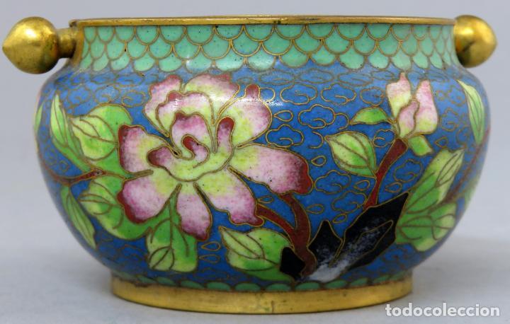 Arte: Cenicero en esmalte cloisonne tonos azules China siglo XX - Foto 6 - 203248741