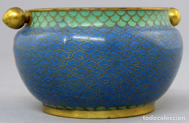 Arte: Cenicero en esmalte cloisonne tonos azules China siglo XX - Foto 7 - 203248741