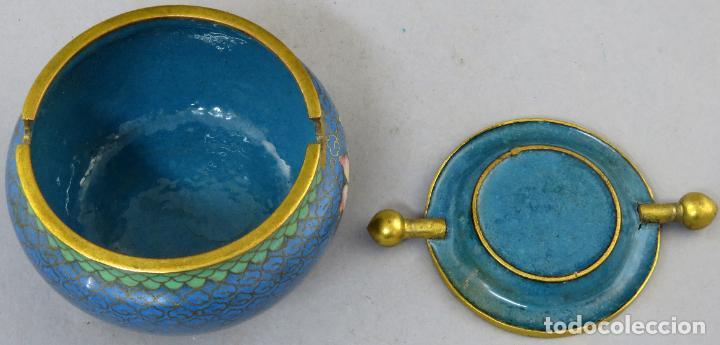 Arte: Cenicero en esmalte cloisonne tonos azules China siglo XX - Foto 8 - 203248741
