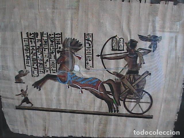 Arte: LOTE DE DOS PINTURAS SOBRE PAPIRO. ARTE EGIPCIO. ENMARCADOS CON CRISTAL. 57 X 49 CM. TEBAS. - Foto 3 - 203786697