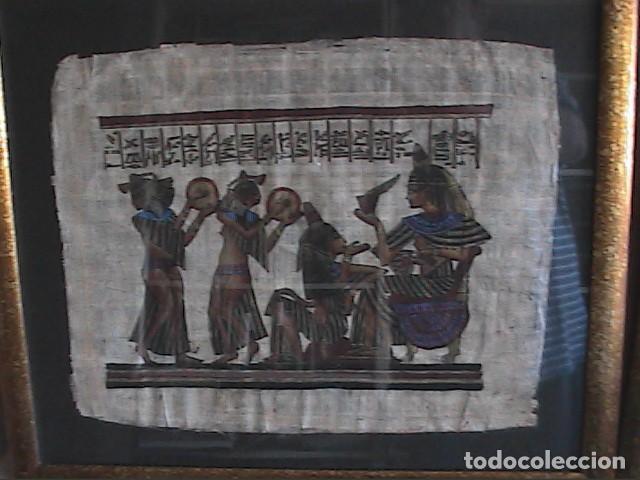 Arte: LOTE DE DOS PINTURAS SOBRE PAPIRO. ARTE EGIPCIO. ENMARCADOS CON CRISTAL. 57 X 49 CM. TEBAS. - Foto 6 - 203786697