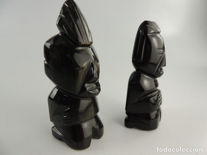 ANTIGUAS FIGURAS ÉTNICAS ÍDOLOS RELIGIOSOS TALLADO EN PIEDRA NEGRA (Arte - Étnico - América)