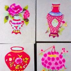 Arte: 4 FIGURAS DE ARTE TRADICIONAL CHINO DE PAPEL RECORTADO Y PINTADO. JARRONES, FLORES, FAROLILLO CHINO. Lote 204542128