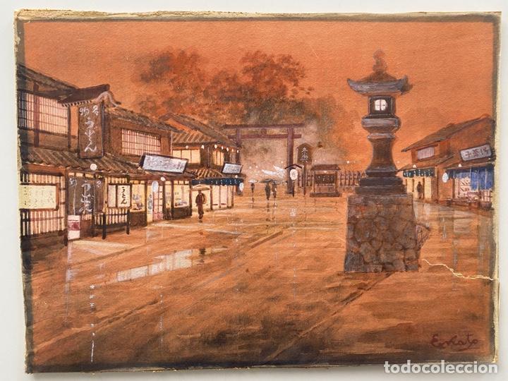 KATO EIKA , ACUARELA ORIGINALDE JAPÓN , FIRMADA (Arte - Étnico - Asia)