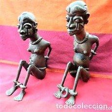Arte: ESCLAVOS NIGERIANOS, EN BRONCE 3,3 KILOS DE PESO ARTESANALES, PIEZAS ÚNICAS. Lote 147174914