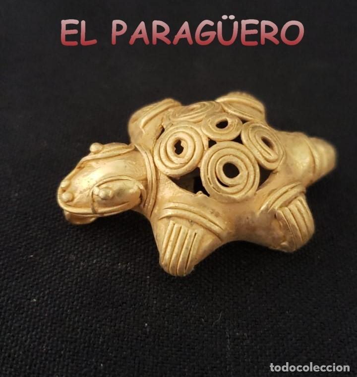 TORTUGA PRECOLOMBINA QUIMBAYA DE ORO TUMBAGA PESO 17 GRAMOS - Nº1 (Arte - Étnico - América)