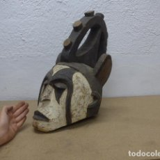 Arte: ANTIGUA MASCARA CASCO DE MADERA TALLADA PARA PONERSE EN RITUAL, DE TRIBU IGBO AFRICANA, NIGERIA.. Lote 206396027