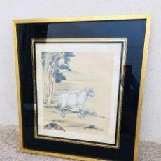 Arte: PINTURA CHINA SOBRE SEDA CABALLO CHINO EN PAISAJE PASSE PARTOUT VIDRIO AÑOS 60 70 60X55CMS. Lote 206454928