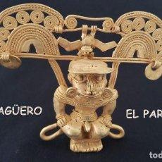Arte: CHAMAN BATMAN PRECOLOMBINO QUIMBAYA DE ORO TUMBAGA PESO 96 GRAMOS - Nº127. Lote 206501715