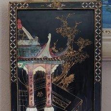 Arte: CUADRO CHINO DE MADERA LACADA CON FIGURAS EN MARFIL. Lote 207027073