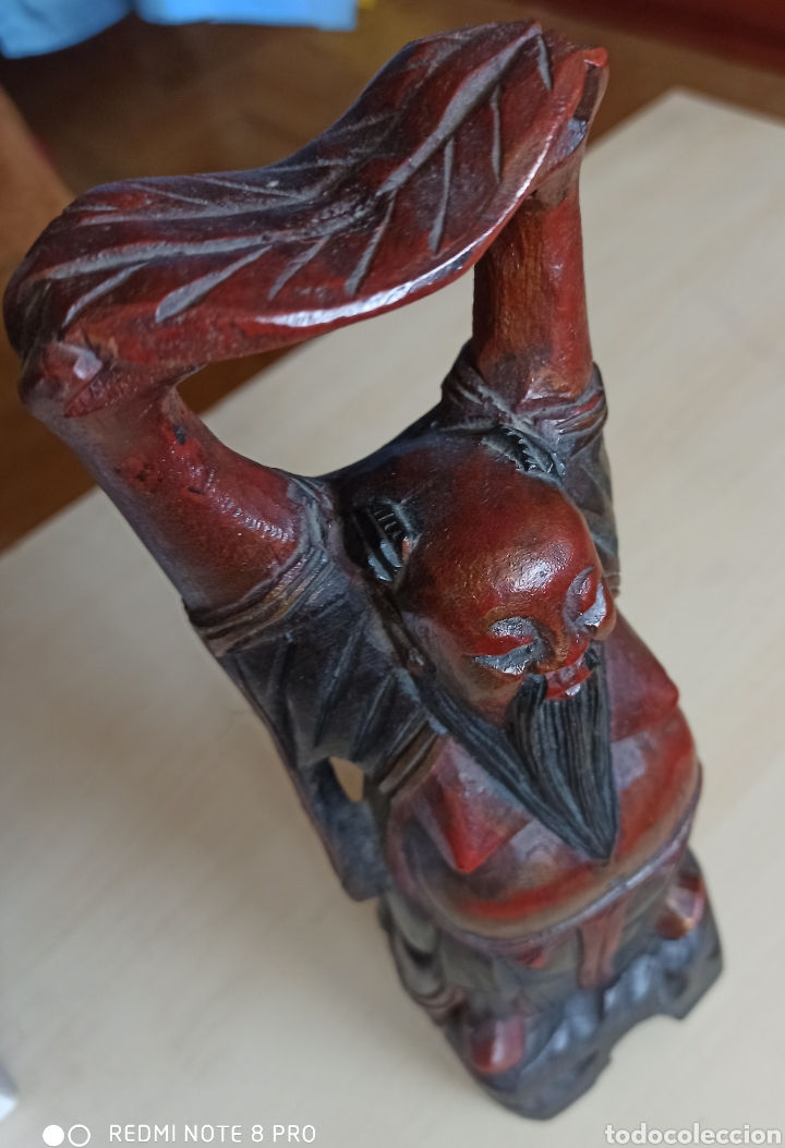 TALLA EN MADERA MACIZA DE BUDA CON BRAZOS ALZADOS (AÑOS 60) (Arte - Étnico - Asia)