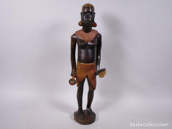ANTIGUA ESCULTURA EBANO SEÑORA MUJER AFRICANA APROX. 49 CM MAGNIFICA MANUFACTURA 378,00 € (Arte - Étnico - África)