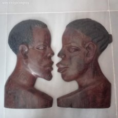 Arte: RAROS MEDIOS BUSTOS ARTE AFRICANO TALLADOS EN MADERA PARA COLGAR EN PARED.. Lote 208130967