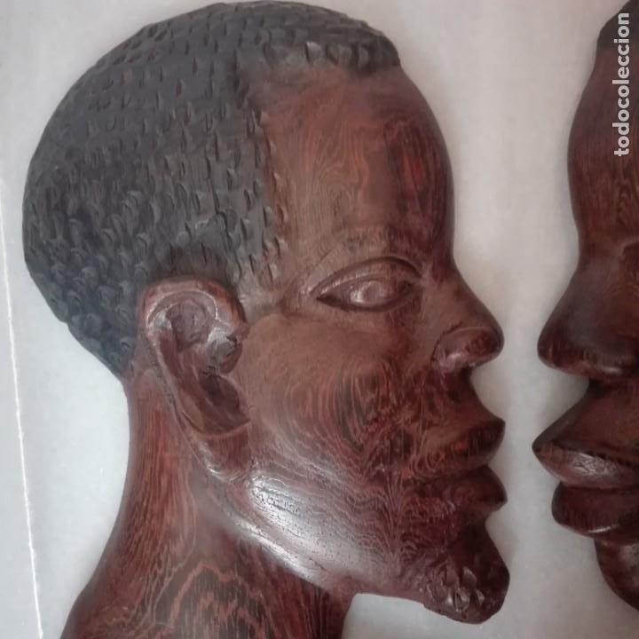 Arte: Raros Medios Bustos arte Africano tallados en madera para colgar en pared. - Foto 2 - 208130967