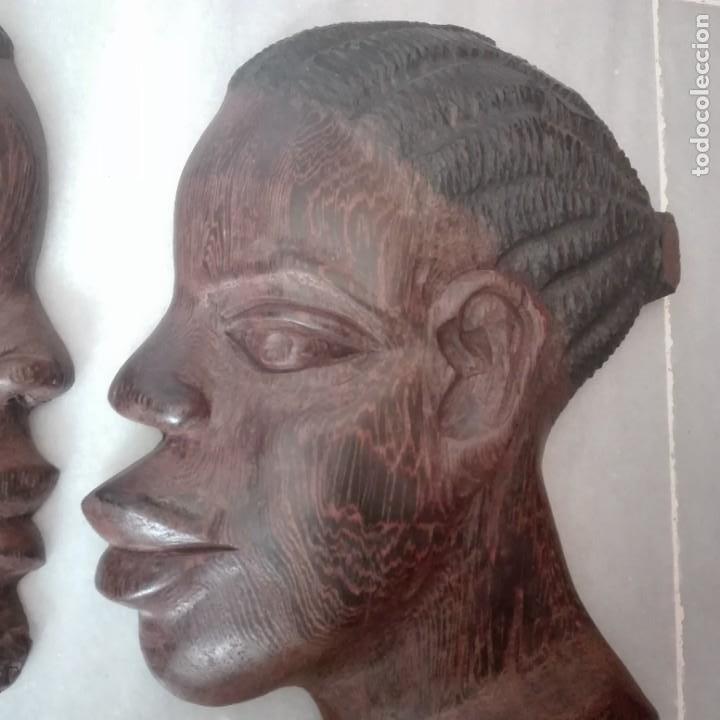 Arte: Raros Medios Bustos arte Africano tallados en madera para colgar en pared. - Foto 3 - 208130967