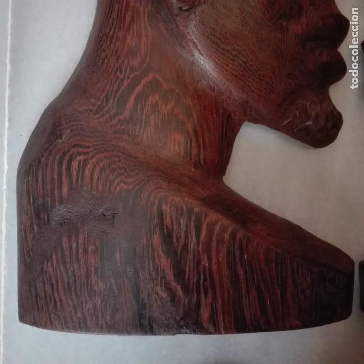 Arte: Raros Medios Bustos arte Africano tallados en madera para colgar en pared. - Foto 4 - 208130967