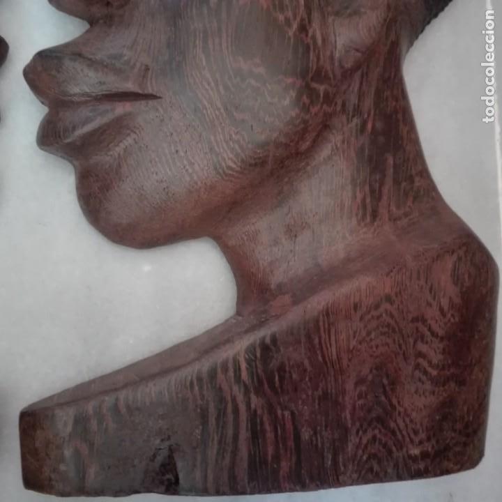 Arte: Raros Medios Bustos arte Africano tallados en madera para colgar en pared. - Foto 5 - 208130967