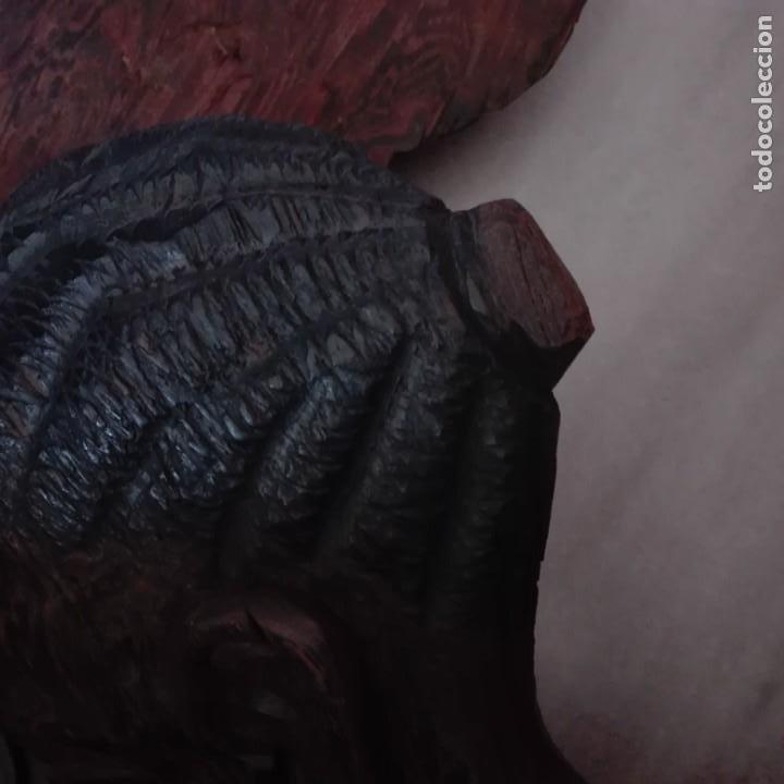 Arte: Raros Medios Bustos arte Africano tallados en madera para colgar en pared. - Foto 7 - 208130967