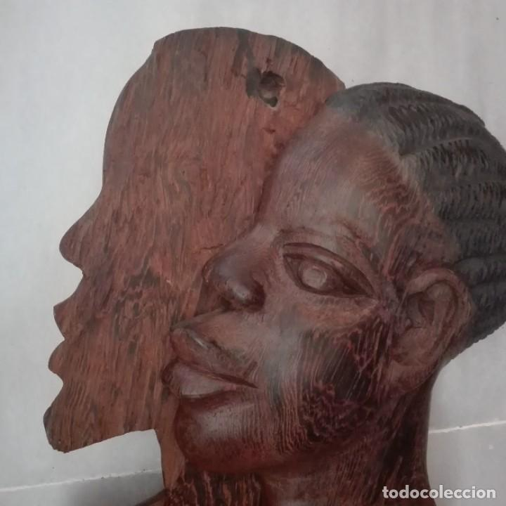 Arte: Raros Medios Bustos arte Africano tallados en madera para colgar en pared. - Foto 8 - 208130967