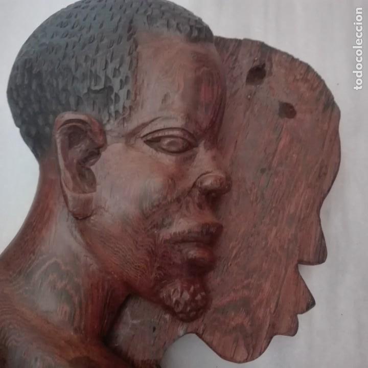 Arte: Raros Medios Bustos arte Africano tallados en madera para colgar en pared. - Foto 9 - 208130967