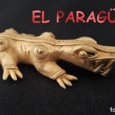 Art: RARO COCODRILO PRECOLOMBINO QUIMBAYA DE ORO TUMBAGA PESO 44 GRAMOS - P15. Lote 208647868