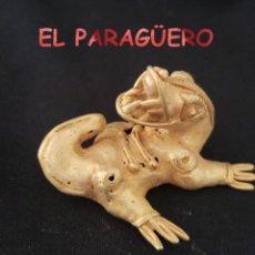 Art: RARO REPTIL BABILLA ATNTROPOMORFA PRECOLOMBINA QUIMBAYA DE ORO TUMBAGA PESO 51 GRAMOS - P11. Lote 208647995