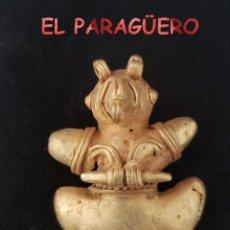 Art: VALE PARA COLGANTE RARO PAJARO TITICO PRECOLOMBINO QUIMBAYA DE ORO TUMBAGA PESO 27 GRAMOS - P4. Lote 208648126