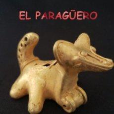 Art: RARO PERRO CATURRO ANTROPOMORFO PRECOLOMBINO QUIMBAYA DE ORO TUMBAGA PESO 41 GRAMOS - P1. Lote 208648436