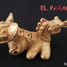 Art: RARO ANTROPOMORFO JAGUAR DE 2 CABEZAS PRECOLOMBINO QUIMBAYA DE ORO TUMBAGA PESO 42 GRAMOS - P6. Lote 208648687
